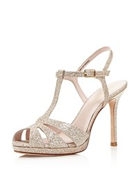 Kate Spade New York Feodora Glitter T Strap High Heel Sandals Gold