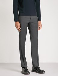 Armani Collezioni Tailored Fit Straight Wool Trousers Charcoal