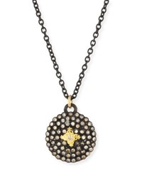 Armenta Old World Midnight Small Round Shield Pendant Necklace Yellow Black