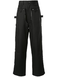 Sankuanz Structured Flare Trousers Black