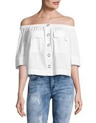 Free People Head Over Heels Button Front Off The Shoulder Top White