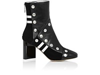 Maison Martin Margiela Women's Leather Snap Embellished Ankle Boots Black