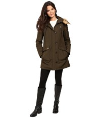 Jessica Simpson Snorkle Anorak W Faux Fur Loden Women's Coat Green