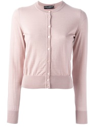 Dolce And Gabbana Crew Neck Cardigan Pink And Purple