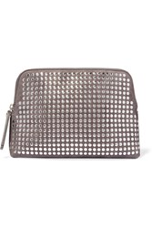 Christopher Kane Studded Suede Clutch Anthracite Silver