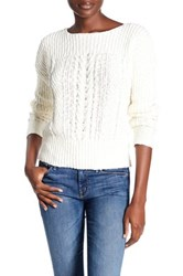 Three Dots Monica Cable Knit Pullover Sweater Beige