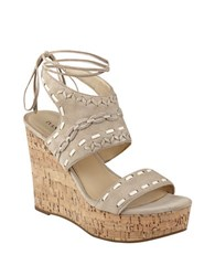 Ivanka Trump Zader Leather Platform Sandals Light Natural