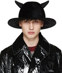Undercover Black Horned Rabbit Fur Hat