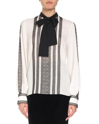 Andrew Gn Long Sleeve Lace Trim Silk Blouse W Neck Tie White
