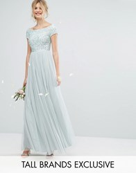 Maya Tall Bardot Maxi Dress With Delicate Sequin And Tulle Skirt Mint Green