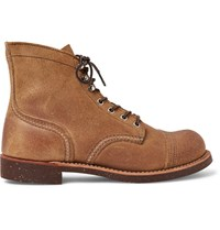Red Wing Shoes Iron Ranger Distressed Suede Boots Tan