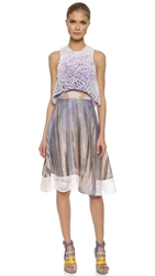 Prabal Gurung Mixed Fabric Dress With Cropped Overlay Midnight Purple