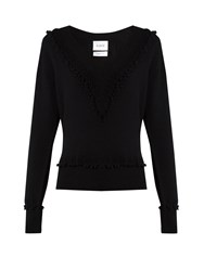 Barrie Timeless V Neck Cashmere Sweater Black