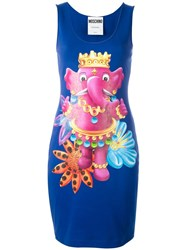 Moschino Crowned Elephant Tank Dress Blue
