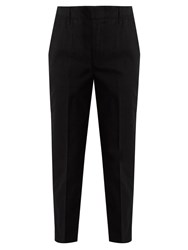Vince Cuffed Cotton Blend Chino Trousers Black