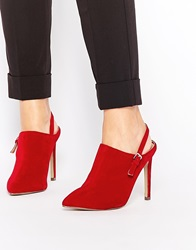 Truffle Collection Nova Strap Heeled Mules Redsuede