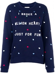 Zoe Karssen Heart Embroidery Sweatshirt Blue