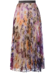Christopher Kane Pleated Pansy Lace Skirt Pink Purple