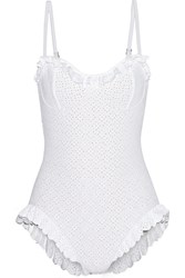 Michael Kors Broderie Anglaise Underwired Swimsuit White