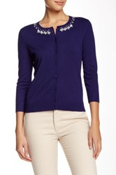 Cable And Gauge Pearl Neckline Cardigan Blue