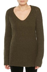 Sanctuary Women's Sequoia V Neck Sweater Marled Fatigue