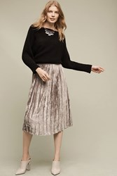 Anthropologie Pleated Velvet Midi Skirt Silver