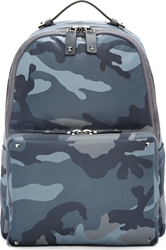 Valentino Grey Nylon And Leather Camo Backpack
