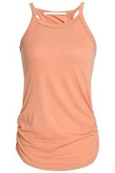 Kain Label Ruched Striped Stretch Knit Tank Peach
