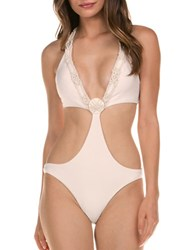 Isabella Rose One Piece Macrame Swimsuit White