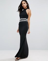 Jessica Wright Halterneck Maxi Dress With Contrast Waist Black