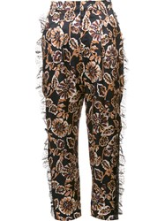 Rodarte Floral Print Tulle Detail Tapered Trousers Black