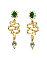 Temple St. Clair 18K Yellow Gold Serpent Drop Earrings With Royal Blue Moonstone Tsavorite And Diamonds Green Gold