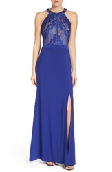 Morgan And Co. Women's Sweetheart Lace Illusion Gown