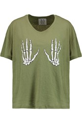 Zoe Karssen Printed Linen And Cotton Blend T Shirt Green