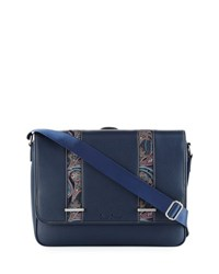 Robert Graham Leather Paisley Messenger Bag Navy