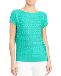 Ralph Lauren Short Sleeve Cable Knit Sweater Tropic Turquoise