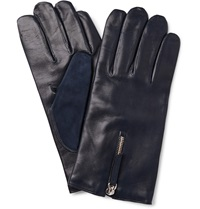 Want Les Essentiels Cashmere Lined Leather And Suede Gloves Blue
