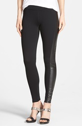 Kensie Faux Leather Trim Ponte Leggings Black