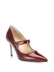 Manolo Blahnik Campari Patent Leather Mary Jane Pumps Bordeaux Nude