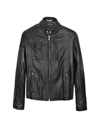 Forzieri Black Italian Leather Motorcycle Jacket