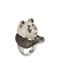 Roberto Coin Animalier 18K White Gold Panda Ring With Black And White Diamonds