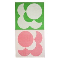 Orla Kiely Bigspot Shadow Flower Beach Towel Pale Rose Emerald