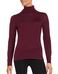 Lord And Taylor Petite Merino Wool Turtleneck Sweater Raspberry Wine