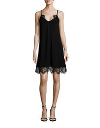 French Connection Eyelash Fringe Accented Lace Cami Dress Black