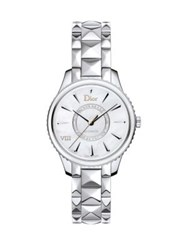 Christian Dior Viii Montaigne Diamond Mother Of Pearl And Stainless Steel Automatic Bracelet Watch Silver