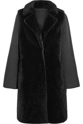 Yves Salomon Layered Shearling And Wool Blend Coat Charcoal