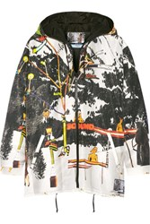 Prada Printed Silk Faille Hooded Jacket White