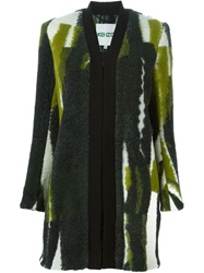 Kenzo 'Spray Stripes' Coat Green