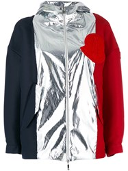 Moncler Gamme Rouge Tri Colour Jacket Women Silk Cotton Polyamide Wool 0 Black
