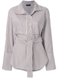Eudon Choi Belted Striped Shirt Cotton Brown